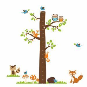Modern Style Cartoon Squirrel Owl Fox Hedgehog Bird Tree Ruler PVC Plane Wall Stickers