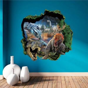 Modern Style Dinosaur World Colorful PVC 3D Wall Stickers