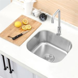 Kitchen Sink Single Bowl # 304 Stainless Steel Sink Topmount Sink  42*37cm Silver (Faucet Not Included)