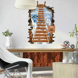 High Altitude Hanging Wooden Rope Bridge Colorful PVC 3D Wall Stickers