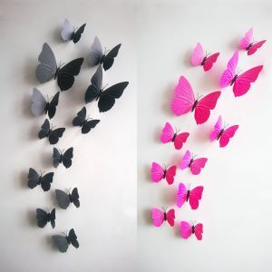 12 Pcs Creative Three-dimensional Butterfly PVC 3D Wall Stickers Pink White Black 3 Options