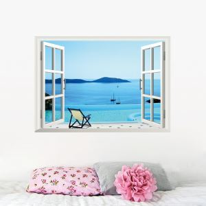 Scenery Outside the Window Seascape Children Room Bedroom Living Room Entrance Colorful PVC 3D Wall Stickers