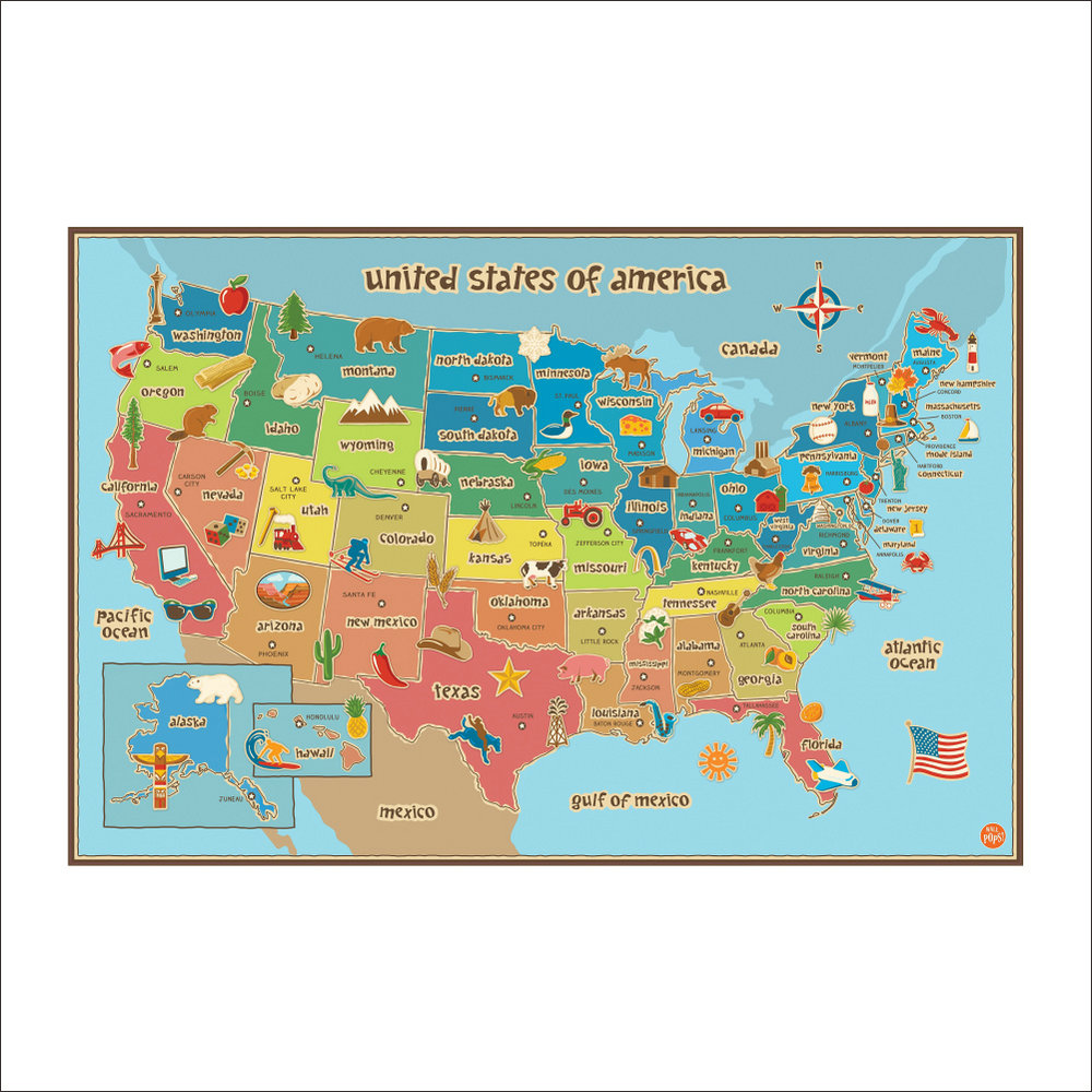 United States Of America Cartoon Map Children Room Bedroom