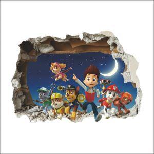 3D Broken Wall Cartoon Patrol Team Children Room Bedroom Living Dining Room Entrance PVC Wall Stickers