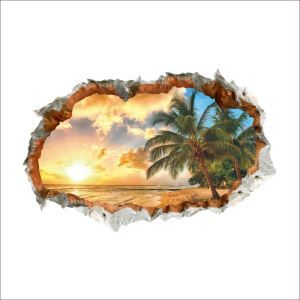 3D Broken Wall Beach at Sunset Children Room Bedroom Living Dining Room Entrance PVC Wall Stickers
