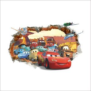 3D Broken Wall Cartoon Anime The Cars Children Room Bedroom Living Dining Room Entrance PVC Wall Stickers