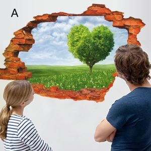 3D Broken Wall Scenery Children Room Bedroom Living Dining Room Entrance PVC Wall Stickers 7 Options