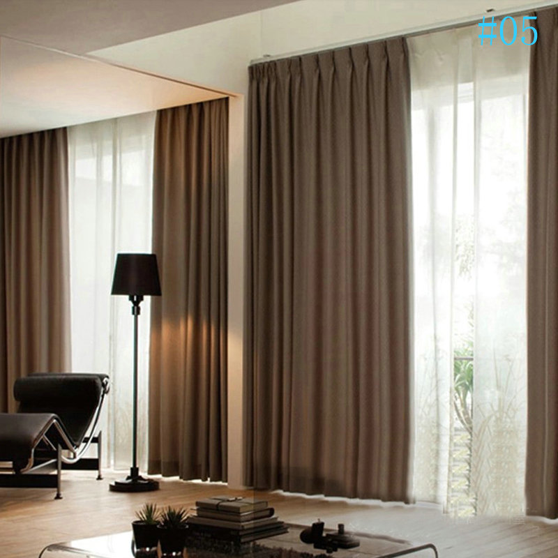 Modern Simple Plain Color Linen Blackout Curtains Premium Custom Living Room Dining