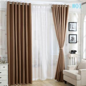 Modern Simple Thickened Blackout Cotton and Linen Black Silk Curtains Japanese Linen Curtains