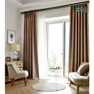 Modern Simple Twill Full Blackout Black Silk Curtains