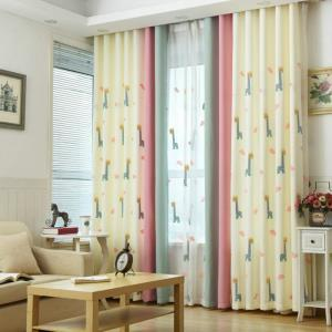 Children's Room Curtains New Arrival Embroidered Giraffe Pattern Curtain Advanced Custom