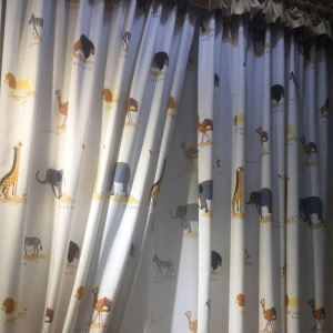 Beige Cartoon Pattern Curtain Lion Giraffe Elephant Children's Room Curtains