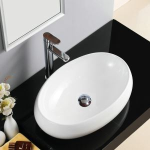 Modern Simple Ceramic Sink White Sink Oval 48cm (Without Faucet)