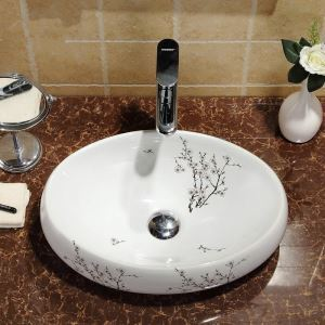 Modern Simple Ceramic Sink White Plum Blossom Pattern Sink Oval 48cm (Without Faucet)