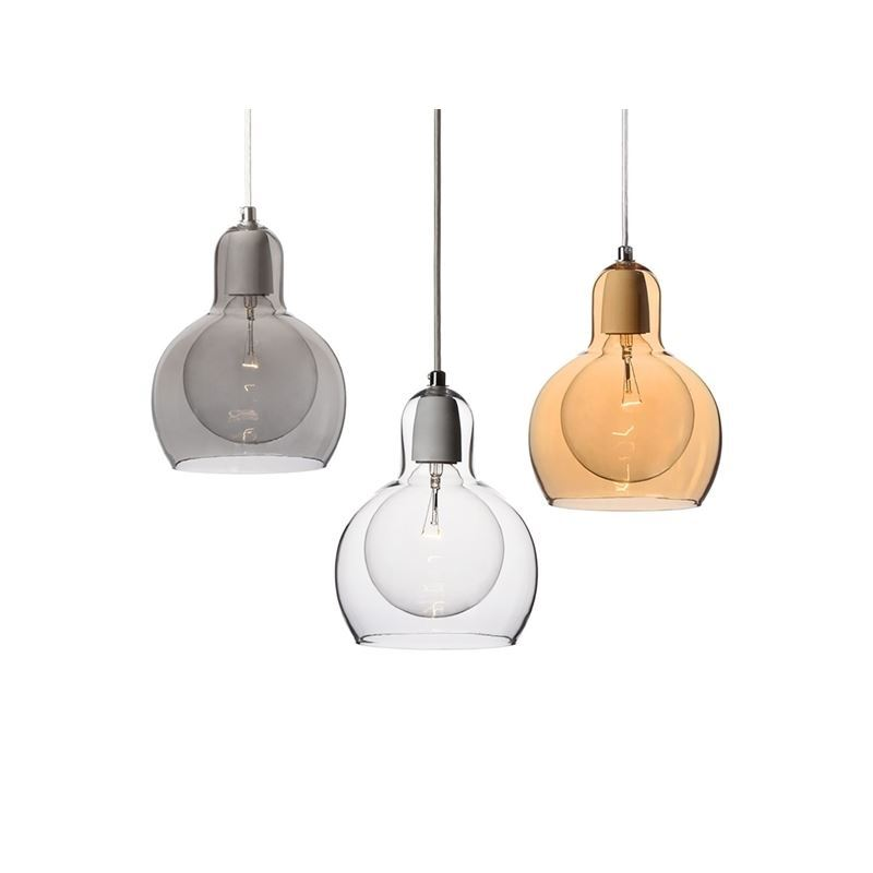 Uk Stock Clear Mouth Blown Pendant Light Glass Modern