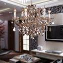 Luxury Crystal Chandelier with 6 Lights Amber Colored Crystal Chandelier Ceiling Lights(Dance Of Romance)