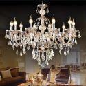 Crystal Ceiling Lights Cognac Luxury Modern 10 Lights Crystal Chandelier Living Room Bedroom Dining Room Lighting Ideas(Dance Of Romance)