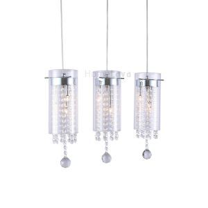 Glass Cylinder Pendant Light Crystal 3-light Pendant Lights with Glass Shades G4 Bulb Base