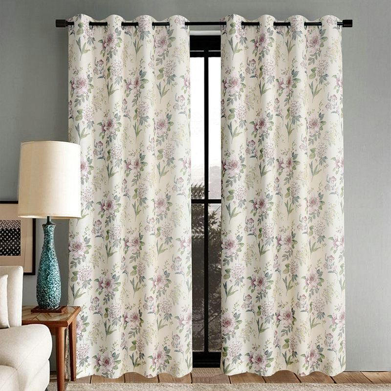 Soft Beige Pink Flower Curtains Customize Curtains