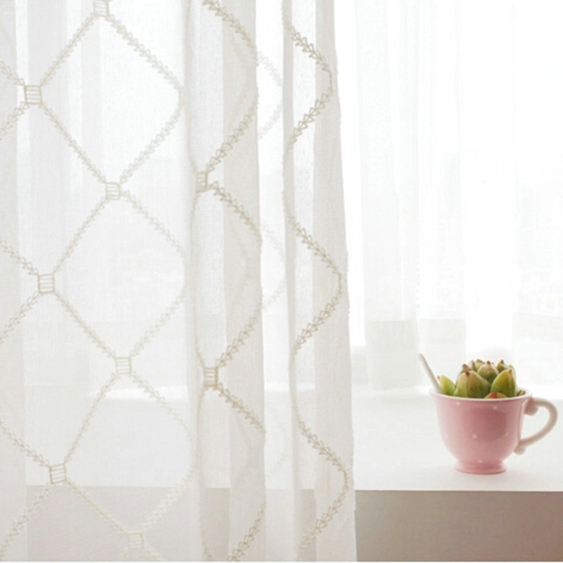 paneleuropean sheer curtains advanced customization embroidery diamond lattice pattern