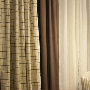 ( One Panel )American Pastoral Curtains Advanced Customization Splicing Color Pattern