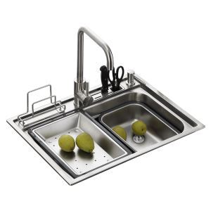 Kitchen Sink Single Bowl # 304 Stainless Steel Sink Topmount Sink  S4939 18in Silver (Faucet Not Included)