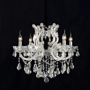 Nordic Modern Clear Glass Crystal Chandelier Living Room Dining Room Bedroom Lighting 6 Lights