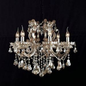 Nordic Modern Cognac Color Glass Crystal Chandelier Living Room Dining Room Bedroom Lighting 6 Lights