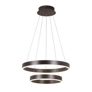 Nordic Modern Circle LED Pendant Light Coffee Brushed Finish Living Room Dining Room Bar Light 2 Circles