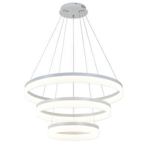 Nordic Modern Circle LED Pendant Light White Living Room Dining Room Bar Light 3 Circles