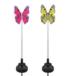 2 pcs LED Solar Fiber Optic Color-Changing Garden Stake Light-Butterfly Outdoor Decoration Light