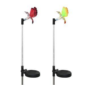 2 pcs LED Solar Fiber Optic Color-Changing Garden Stake Light-Hummingbird Outdoor Decoration Light