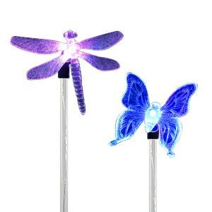 2 pcs LED Solar Color-Changing Dragonfly Butterfly Garden Stake Light Outdoor Decoration Light