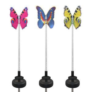 3 pcs LED Solar Color-Changing Butterfly Garden Stake Light Outdoor Decoration Light
