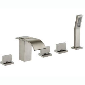 Modern Brushed Bathtub Faucet With Hand Shower Deck Mount Bath Tap
