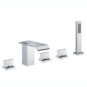Modern Square Tub Faucet Simple Chrome Plating Bathtub Tap with Hand Shower