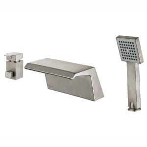 Brushed Nickel Tub Faucet Modern Simple Bathtub Tap with Hand Shower