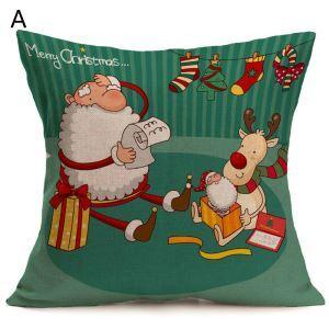 Cartoon Cute Santa Claus Christmas Theme Pillowcase 4 Options