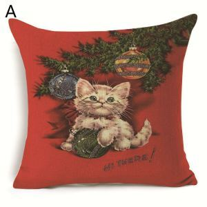 Christmas Pillow Pet Cat Pet Dog Christmas Theme Pillowcase 7 Options