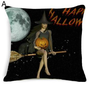 Halloween Pillowcase Witch Skeleton Horror Pumpkin Man Halloween Theme Pillow 5 Options