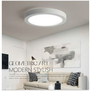 Modern Simple Style Living Room Dining Room Bedroom Round LED Flush Mount Black and White