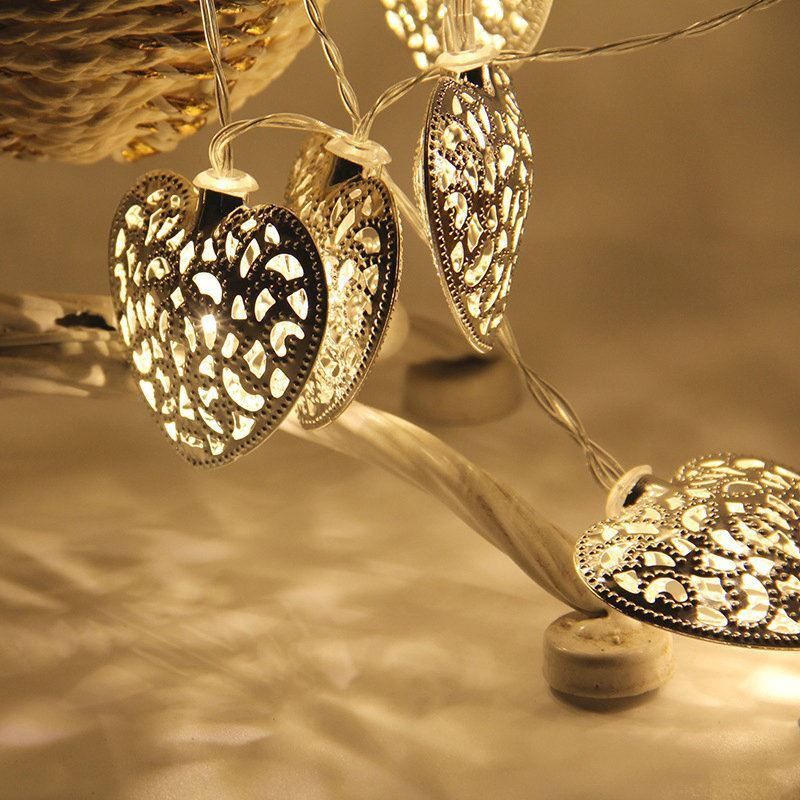Gold And Silver Iron Craft Heart Shape Hollow String Light