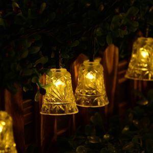Transparent Bells Outdoor Waterproof Solar LED String Lights