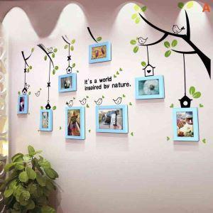 Pastoral Home Decor Solid Wood Photo Wall Photo Frame 8 pcs/set