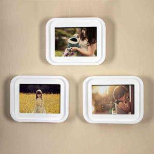 European White Creative Wall Mount Home Decor Solid Wood Photo Frame