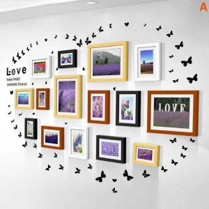 Nordic Simple Home Decor Photo Frame Solid Wood Photo Wall Photo Frame 15 pcs/set