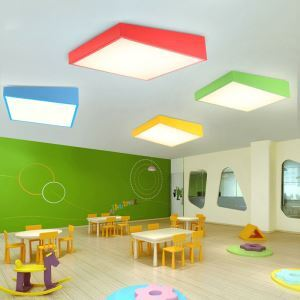 Nordic Simple Style Flush Mount Creative Geometry Shape Children Bedroom Hallway Light 4 Colors Available Cool White