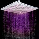 12 Inch Chromed Brass Square LED Rain Shower Head (0913 -8106)