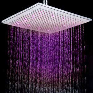12 Inch Chromed Brass Square LED Rain Shower Head (0913 -8106)