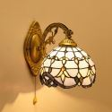 Stained Glass Wall Light Blue Baroque Stained Glass One-light Wall Sconce with Pull Chain